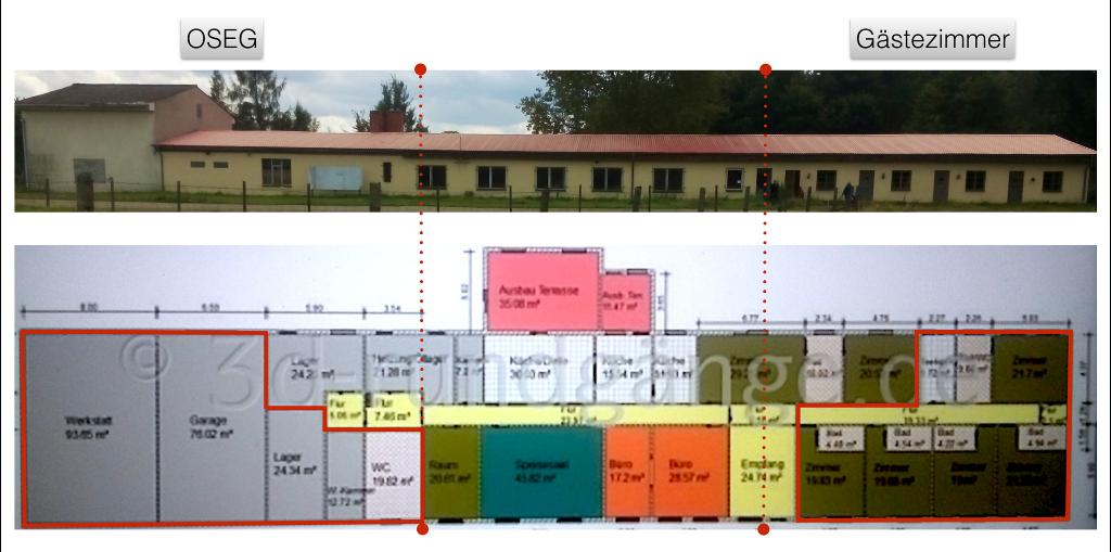 Der Grundriss zeigt verschiedene Bereiche, wie Wohnbereich, OSEG-Werkstatt und Gästezimmer